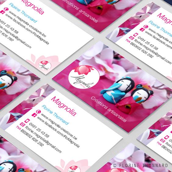 Florine Thonnard, graphiste à Liège, magnolia créations artisanales japonaise carte de visite