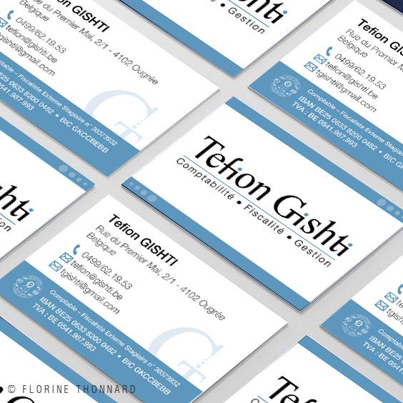 Florine Thonnard, graphiste à Liège, Tefion Gishti comptable carte de visite