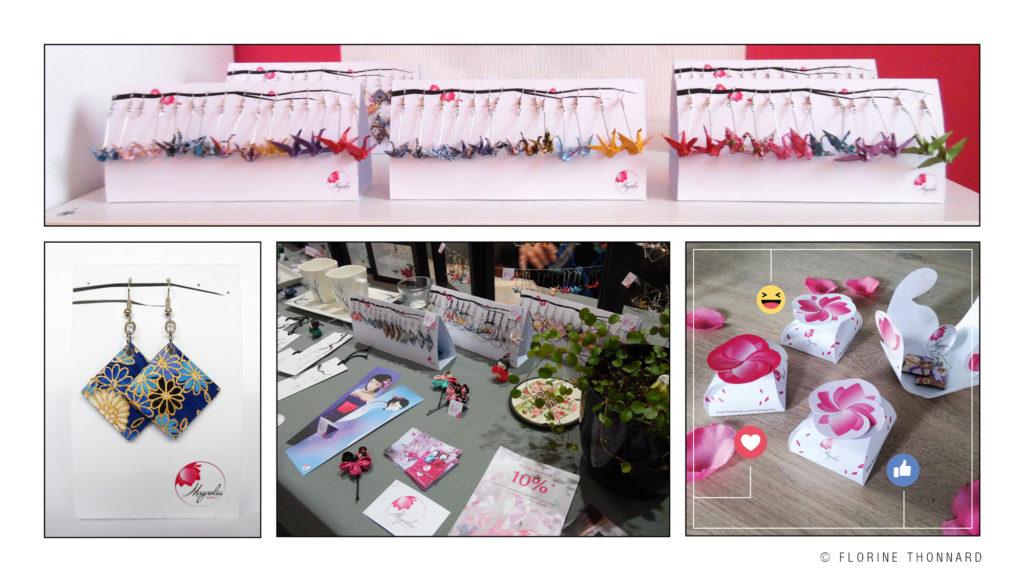 Florine Thonnard, graphiste à Liège, magnolia créations artisanales japonaise présentoir bijoux origami packaging