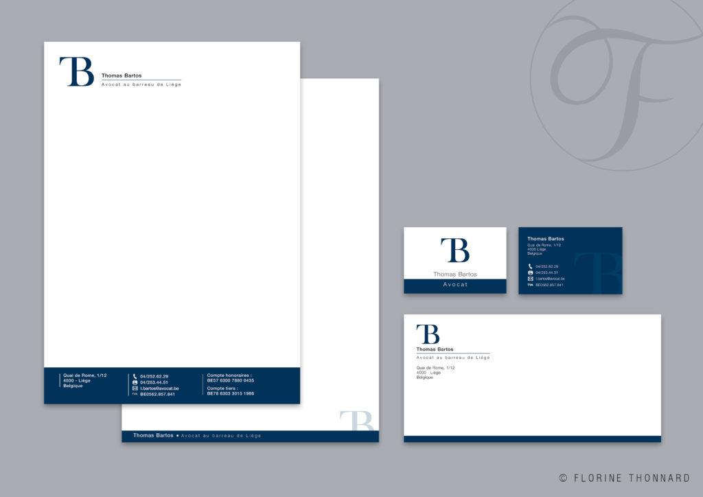 Florine Thonnard, graphiste à Liège, Thomas Bartos avocat entête et suite de lettre carte de visite enveloppe