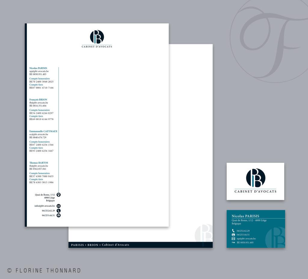 Florine Thonnard, graphiste à Liège, Parisis Brion cabinet d'avocats carte de visite entête et suite de lettre
