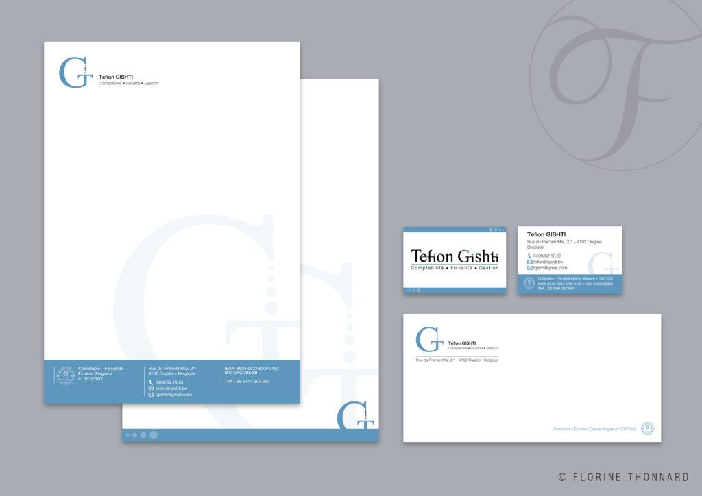 Florine Thonnard, graphiste à Liège, Tefion Gishti comptable carte de visite entête et suite de lettre enveloppe