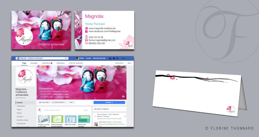 Florine Thonnard, graphiste à Liège, magnolia créations artisanales japonaise carte visite présentoir facebook